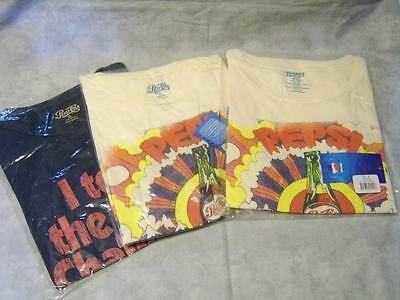 V69 Lot 3 Pepsi-Cola Vintage T-Shirts Short Sleeve XL XXL New with Tags Sealed