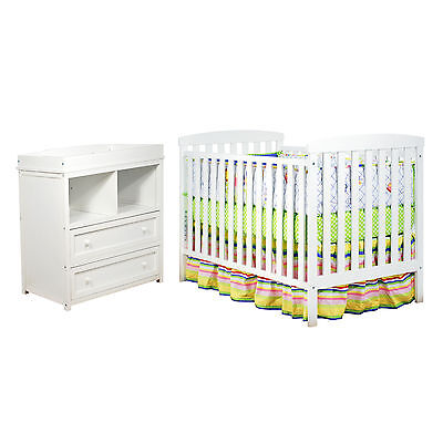 Baby Crib Infant Changer Changing Table Dresser Newborn Nursery Bed Furniture