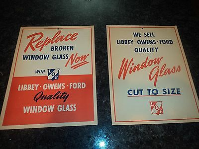 Pair of Vintage NOS Libbey Owens Ford Window Glass Advertising Sign Display