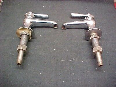 Vintage Pedestal Sink Faucets Hot Cold Nickle Over Heavy Brass Old Stock Unused