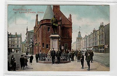 PEARCE STATUE AND LYCEUM THEATRE, GOVAN: Glasgow postcard (C27049)
