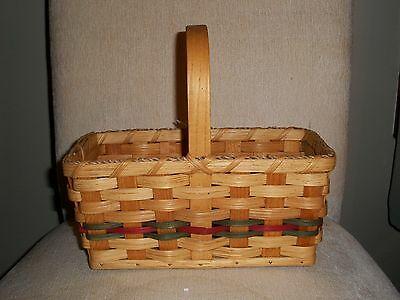 Basket Amish Made Reed Plain Jelly Basket Green Burgundy Stationary Handle