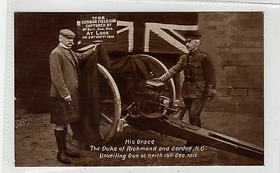 DUKE OF RICHMOND UNVEILING GERMAN GUN, KEITH 1915: Banffshire postcard (C27080)