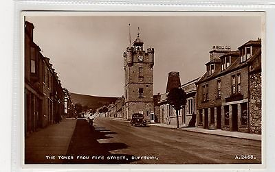 THE TOWER FROM FIFE STREET, DUFFTOWN: Banffshire postcard (C27099)