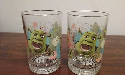 SET OF 2 SHREK THE THIRD COLLECTIBLE McDONALD'S GLASSES WITH MULTIPLE SCENES!