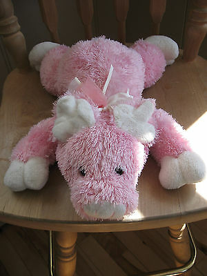Adorable! DAN DEE pink plush PIG flying ears Piggy with bow
