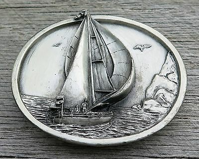 Sailboat Sailing Boat Bergamot Brass Works 1980's Vintage Belt Buckle