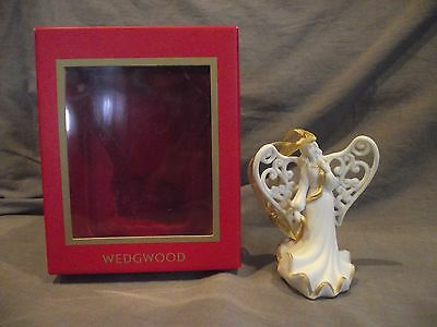 Wedgwood Angel with Sash (Ivory/Gold) Christmas Ornament with Box