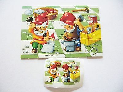 Kinder Surprise Toy Puzzle 1992 Ferrero D Christmas Gnomes Elves w/Paper Insert