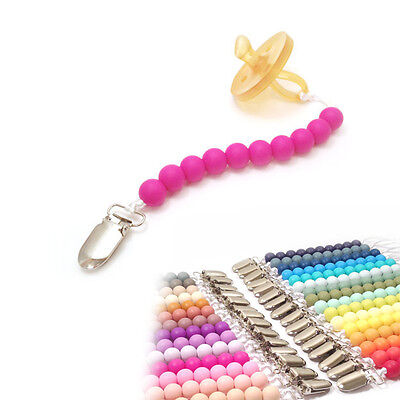 Baby Infant Silicone Teething Soother Pacifier Clip Beads Nipple Strap Chain