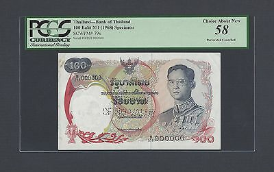 Thailand 100 Bath ND (1968) P79s Specimen Perforated About Uncirculated
