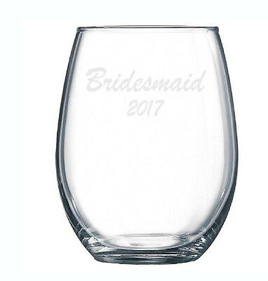 Bridesmaid Glass Custom Etched Engraved Wine Beer Gift Wedding Pilsner Pint