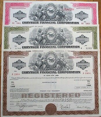 Chrysler Financial Corp. SET OF THREE Stock/Bond Certificates - Car/Automobile