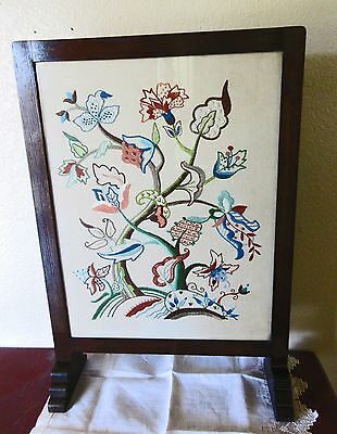 Antique Oak Summer Fireplace screen,Crewel Embroidery,Jacobean,Lk Elsa Willians