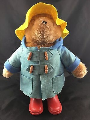 VTG 1972-1981 Paddington Plush Bear with Blue Coat, Yellow Hat, Red Boots 18""