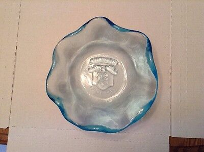 Heavy Blue Glass Brach's Since 1904 Logo Clamshell Fluted Edge Candy Dish #3009
