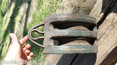"Vintage 13"" Double Wood Wooden Pulley Nautical Ship Farm   Block & Tackle"