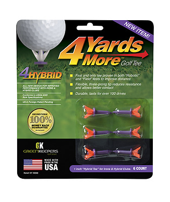 4 Yards More - Iron or Hybrid Golf Tees 6 Golf Tees - Improve your distance