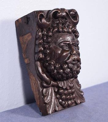 "*7"" French Antique Hand Carved Oak Wood Man's Head w/Beard Salvage Trim"