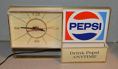 Old Vintage Light Up Pepsi Cola Clock