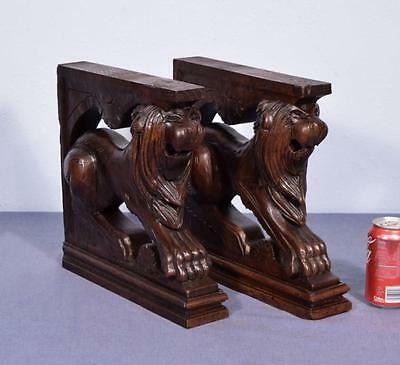 *French Antique Solid Oak Wood Statues/Pedestals with Lions