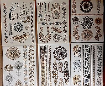 6 X Full Sheets Flash Metallic Gold Silver Temporary Tattoos Tattoo Wholesale