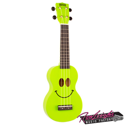 Mahalo Art Series Soprano Ukulele Smiley Face Design with Bag - Green