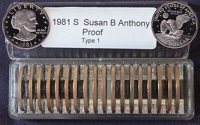 1981-S Type 1  SUSAN B ANTHONY DOLLAR Proof Roll of 20 Deep Cameo Coins