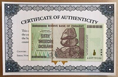 Zimbabwe 50 Trillion ZIM Dollars AA 2008 Series P90 UNC UV Inspected with COA