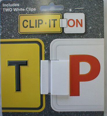 Clip It On L or P Plate Clips Car Number Licence Plate: Two Piece White Set