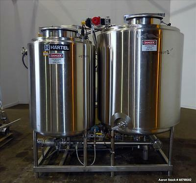 Used- Hartel Corporation Dual Tank Clean In Place System, 316 Stainless Steel, V