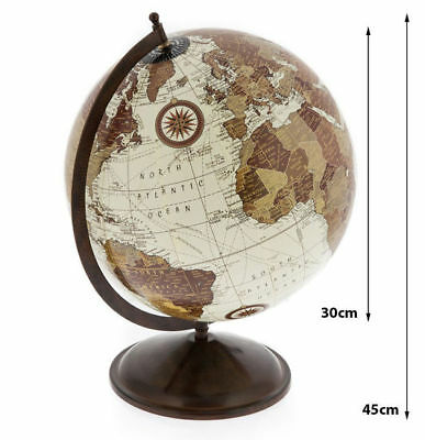 30cm World Globe Map on 40cm Metal Stand Geography Educational Office Gift