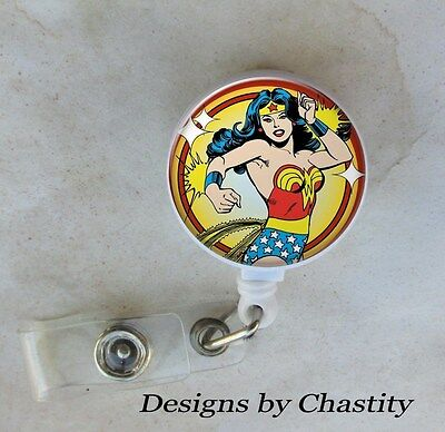 Wonder Woman Badge Reel Retractable Holder Belt Clip ID Teacher RN Nurse Retro