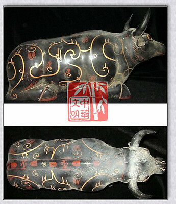 WarringStatesPeriod NOBLE TombSite HornCattle PAINT WOOD LACQUERWARE OX STATUE漆器
