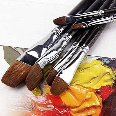 ARTIST PAINT BRUSHES - Professional 6PCS Red Sable (Weasel Hair) Long Handle ...
