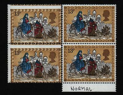 IMPER1979 XMAS 13p PAIR STAMP MISTAKE ERROR major colour shifts & design errors