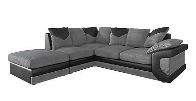 New Large Dino Corner Sofa Jumbo Cord Grey Black Or Beige Brown Left Or Right