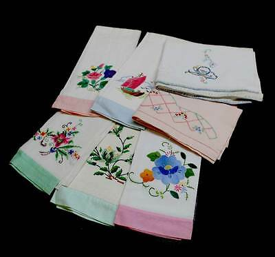 Group of 7 vintage applique & embroidered hand towels or napkins - some linen