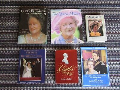 6 X Royal Family Books Lot - Queen Mother, Margaret, Charles, Andrew & Fergie