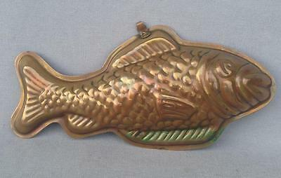 big vintage french cake pan mid-1900's fish shape tin and copper