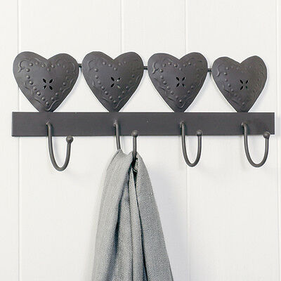 Cast Iron French Country Hearts Clothes Coat Hook Board 6th Anniversary Gift