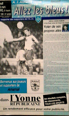 Auxerre V Arsenal 16/3/1995 European Cup Winners Cup