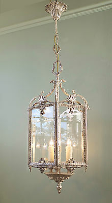 Large French Rococo Vintage Chic Silver Gilt Hanging Hall Porch  Lantern