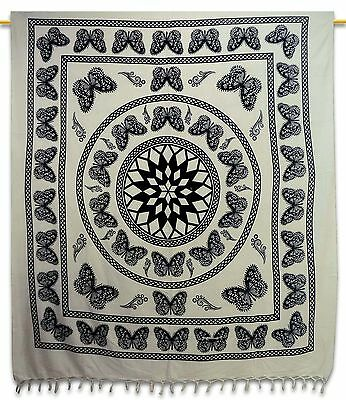 Vintage Butterfly Tapestry Cotton Wall Hanging White Indian Home Decor 92 X 82