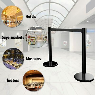 4pcs Stanchion Belt 2 Sets Retractable Black Belt Crowd Control Barrier