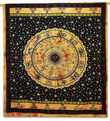 Vintage Zodiac Tapestry Black Wall Hanging Cotton Indian Home Decor 92 X 82