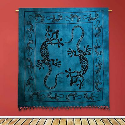 Vintage Cotton Tapestry Grey Indian Lizard Printed Wall Hanging Decor 92 X 82