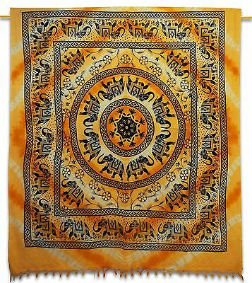 Vintage Indian Pure Cotton Orange Tapestry Elephant Wall Hanging Decor 92 X 82
