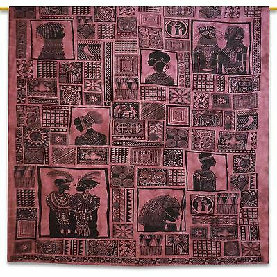 Mauve Vintage Indian Tapestry Tribal Printed Cotton Wall Hanging Decor 92 X 82