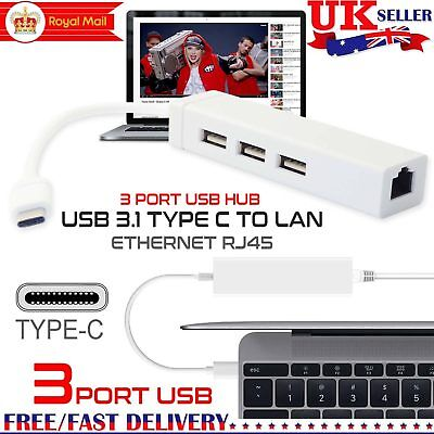 New USB-C USB 3.1 Type C to USB RJ45 Ethernet Lan Adapter For Macbook windows